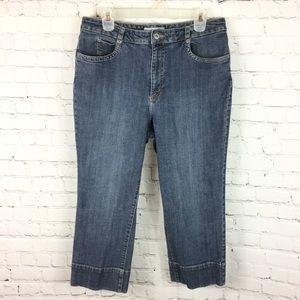 Chico's platinum blue jean denim capris size 2 Med